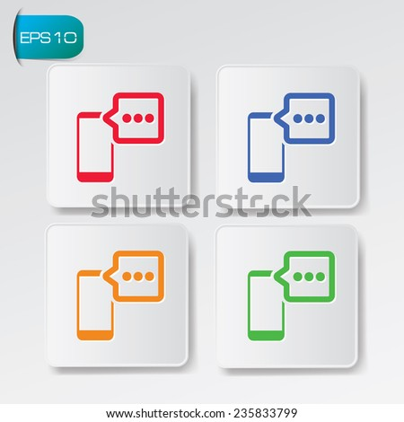 Message on mobile icons on buttons,clean vector - stock vector