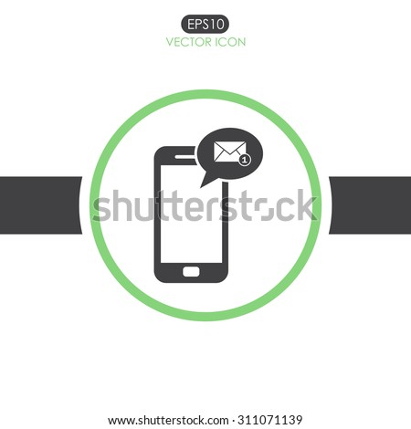 Message on mobile phone vector icon. - stock vector