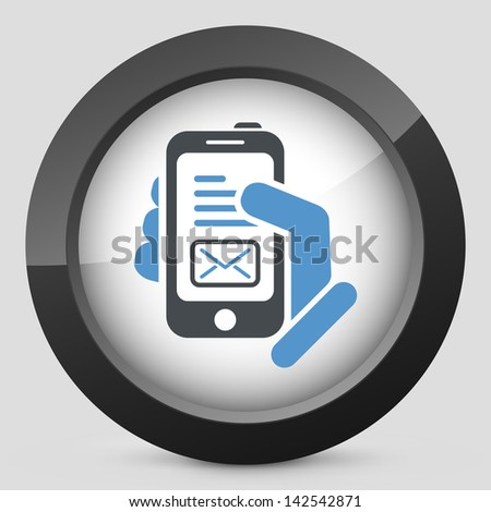Message on smartphone icon - stock vector