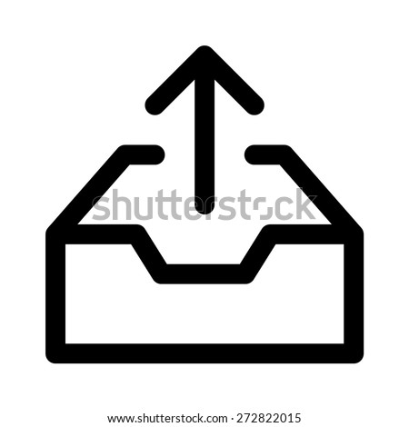 Message outbox line art icon for apps and websites - stock vector