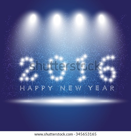 Message text happy new year 2016. Creative stylish design. Vibrant white numbers. Winter season (December, january). Decorations glamour party. Blur soft effect glare.  Glow starry sky in dusk. bulbs - stock vector