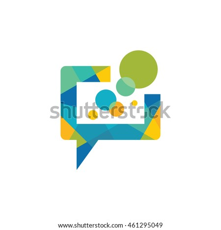 Message - vector logo template concept illustration. Speech bubble creative sign. Internet chat icon. Abstract mosaic. Geometric design element.