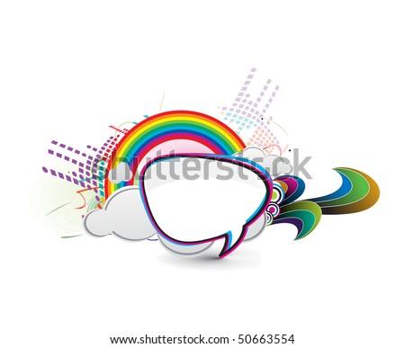 messenger window icon vector illustration isolated on rainbow background. - stock vector