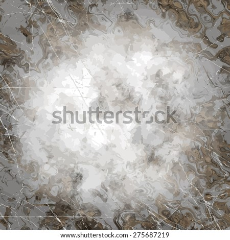 Messy backdrop. Black and white wallpaper with scratches and vignette. - stock vector