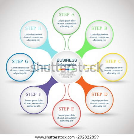 Metaball for diagram, graph, presentation and chart. Business concept with 8 options, parts, steps or processes