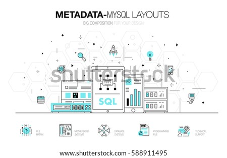 Nice Metadata Trendy Modern Mysql Layouts Thin Line Composition, Server Analysis  And Internet Operations. Made