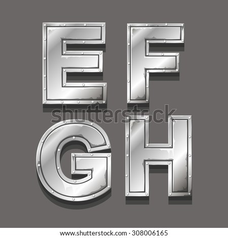 Metal alphabet letters and symbols E F G H - stock vector