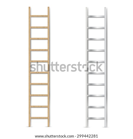 metal and wooden ladder, vector illustration - stock vector