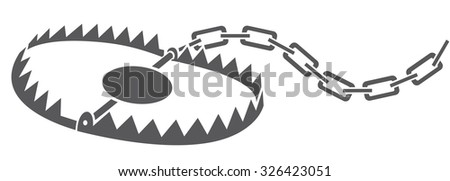 metal animal trap (bear trap, hunting trap) - stock vector