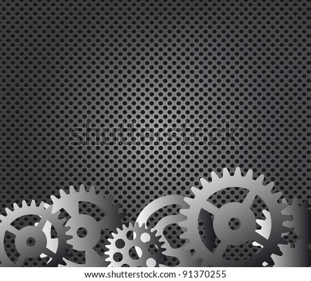 Metal background and gears vector illustration - stock vector
