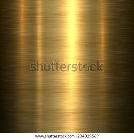 Metal background, gold brushed metallic texture plate. - stock vector