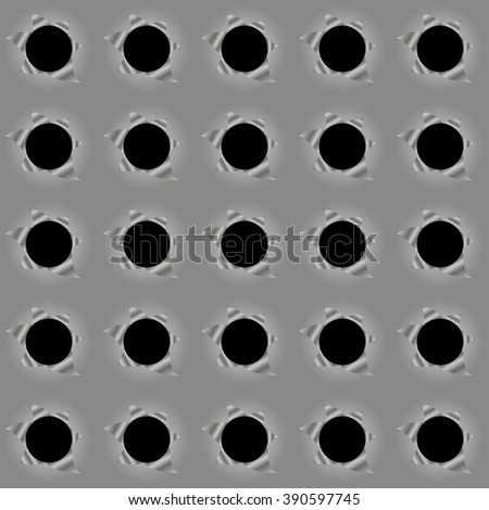metal background hole torn - stock vector
