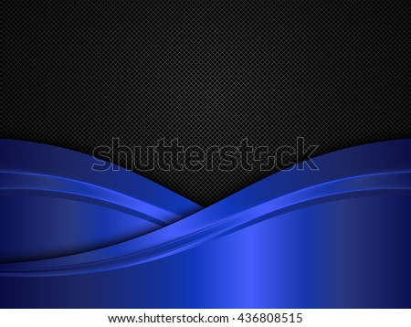 Metal background with blue waves. Black and blue metallic background - stock vector