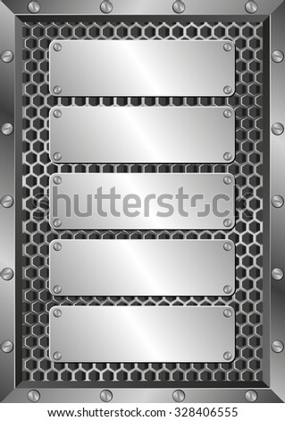 metal background with five plaques - stock vector