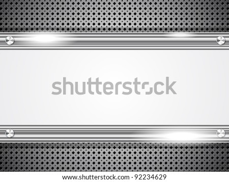 Metal background with frame for your text - stock vector