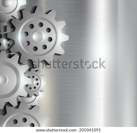 metal background with gears - stock vector