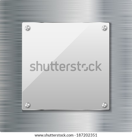 Metal background with glass frame. Illustration. Vector. - stock vector