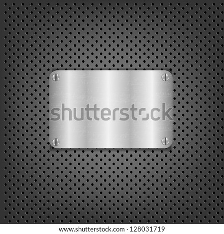 Metal Background With Metal Plate With Gradient Mesh, Vector Illustration - stock vector