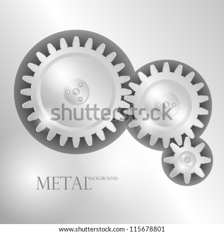 Metal background with pinions. EPS10 Vector. - stock vector