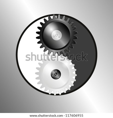 Metal background with pinions. Symbol yin yang. EPS10 Vector. - stock vector