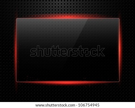 Metal background with shiny glass frame for your text - stock vector