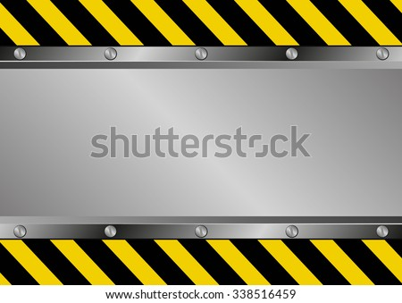 metal background with yellow black stripes - stock vector