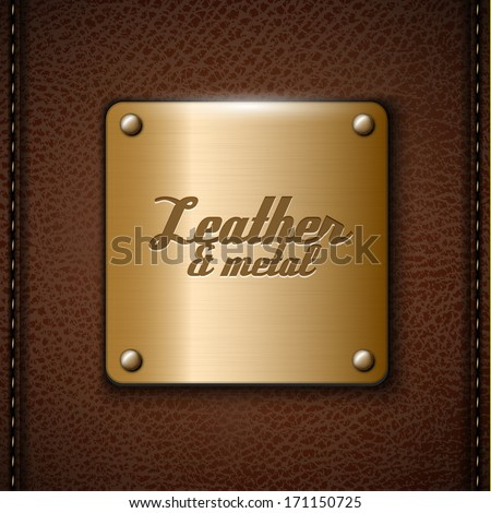 Metal badge on brown leather background - eps10 - stock vector