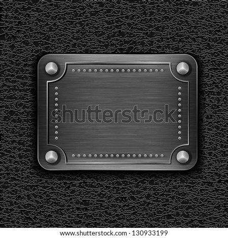 Metal badge on leather background - eps10 - stock vector