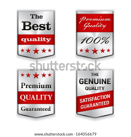 Metal badges set on white background. Best Quality. Premium quality guaranteed. The Genuine Quality.Vector illustration.  - stock vector