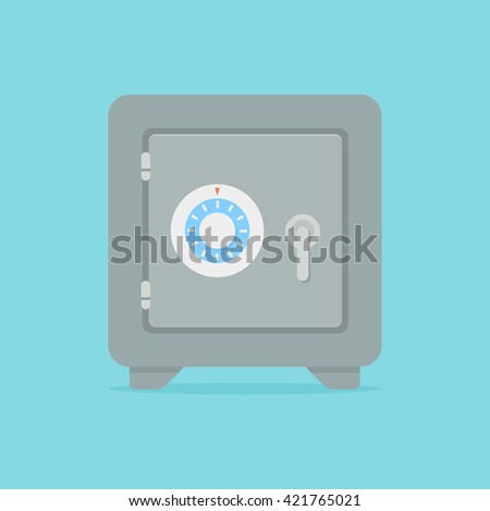 Metal bank safe vector icon in a flat style. Closed safe isolated on a colored background. Concept of the icon safe shadow at the bottom. Simple illustration of the safe.  - stock vector