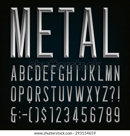 Metal Beveled Narrow Font. Vector Alphabet. Metal effect beveled narrow letters, numbers and punctuation marks. Stock vector for your headlines, posters etc. - stock vector