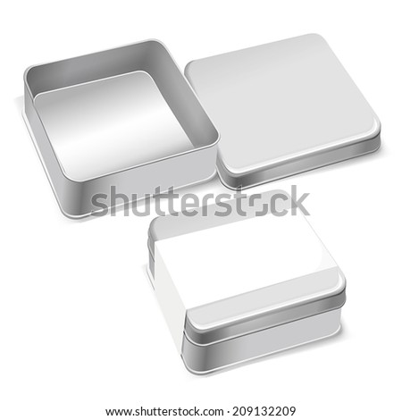 metal box template with blank label isolated over white background
