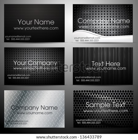 Metal business card set eps10 - stock vector