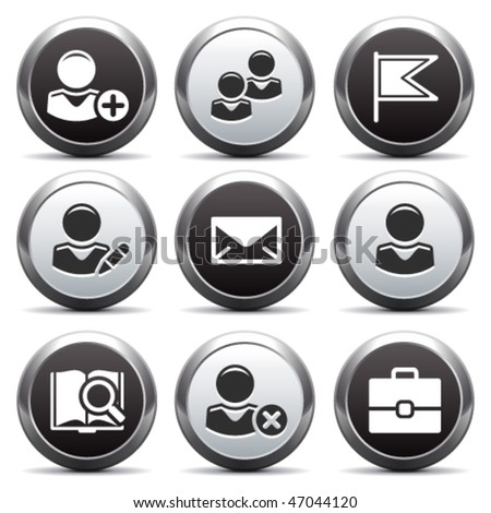 Metal button with icon 1 - stock vector