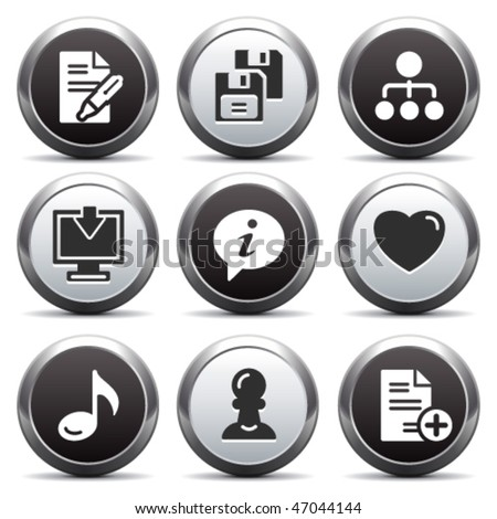 Metal button with icon 10 - stock vector