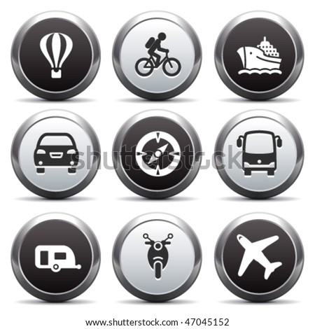 Metal button with icon 20 - stock vector