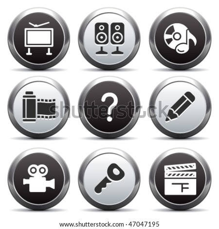 Metal button with icon 28 - stock vector