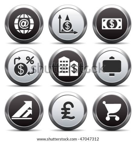 Metal button with icon 23 - stock vector