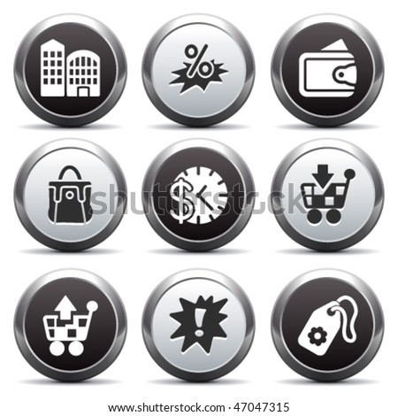 Metal button with icon 26 - stock vector