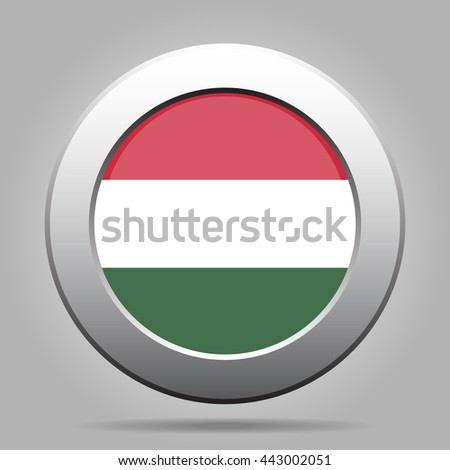 metal button with the national flag of Hungary on a gray background - stock vector