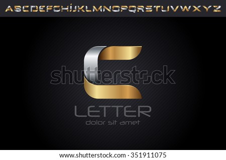 Metal C Letter Logo, alphabet logo design. - stock vector