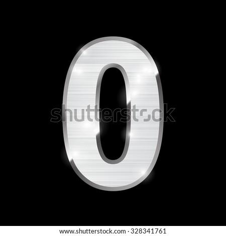 metal chrome alphabet on black - number 0, zero - stock vector