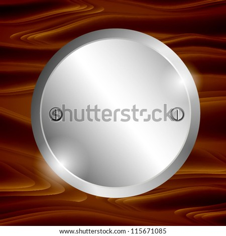 Metal circle-plate on wooden surface. EPS10 vector. - stock vector