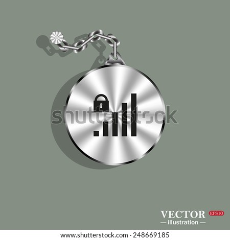 Metal circle with a chain on a green background. Shadow. signal strength indicator, closed access , vector illustration, EPS 10 - stock vector