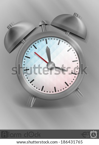 Metal Classic Style Alarm Clock. Vector Illustration. Eps 10 - stock vector