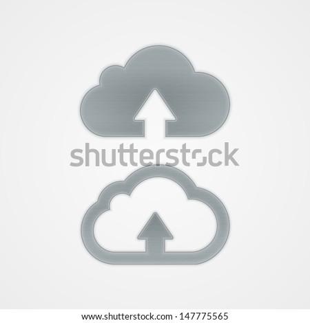 Metal cloud icon. Vector illustration. - stock vector