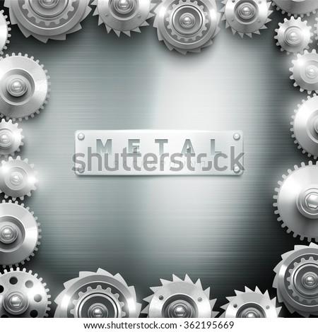 Metal cogwheel clockwork frame modern decorative design for interior background or art gallery abstract texture vector illustration - stock vector