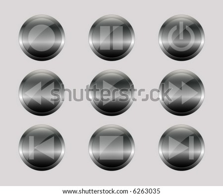 metal control buttons - stock vector