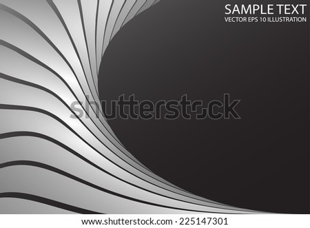 Metal curved space background illustration - Metal curved  silver modern design template - stock vector