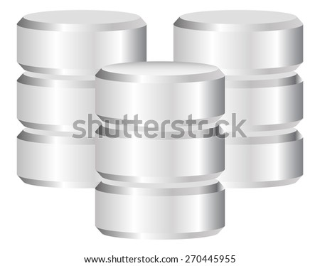 Metal Cylinder. Web hosting, Server, Mainframe Computer Concepts. Archive, Database, Hard Disk Drive, HDD Vector Icon - stock vector